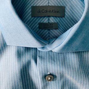 👔 Men's Calvin Klein Blue Stripe Dress Shirt 👔